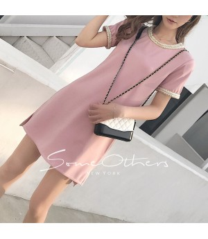 SomeOthers Basic Tee Dress-Pink