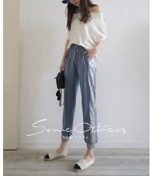 SomeOthers Contrasting Color Harem Pants-Blue