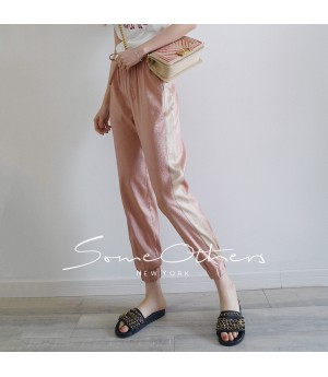 SomeOthers Contrasting Color Harem Pants-Pink