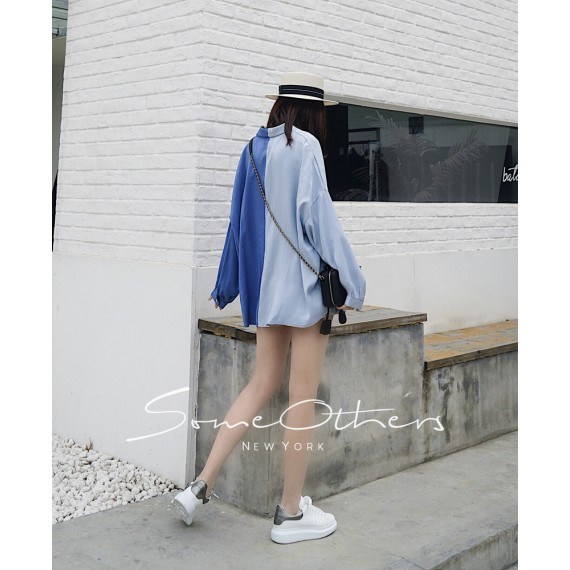 SomeOthers Contrasting Color Silk Shirt-Blue