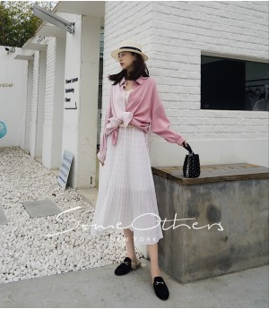SomeOthers Contrasting Color Silk Shirt-Pink