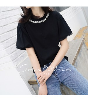 SomeOthers Pearl Embellished Tees-Black