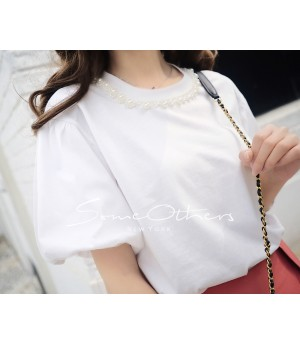 SomeOthers Pearl Embellished Tees-White