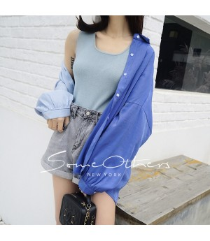 SomeOthers Basic Knit Top-Blue