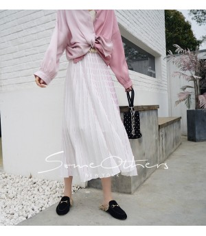 SomeOthers Pleated Long Skirt-Pink