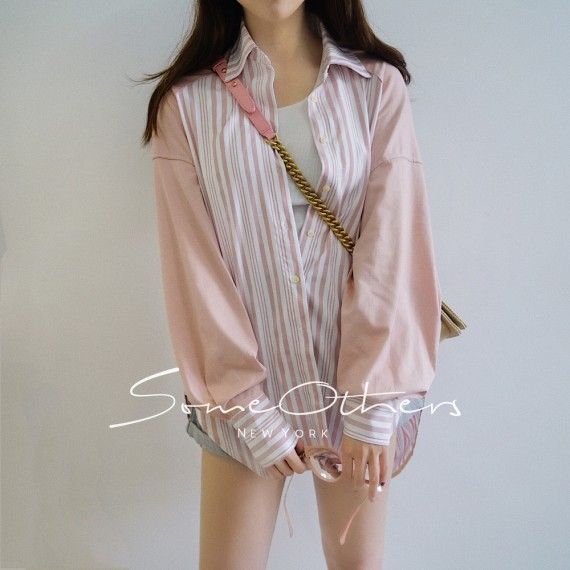 SomeOthers Contrast Stripe Shirt-Pink