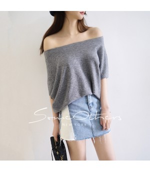 SomeOthers Boat Neck Knit Shirt-Grey