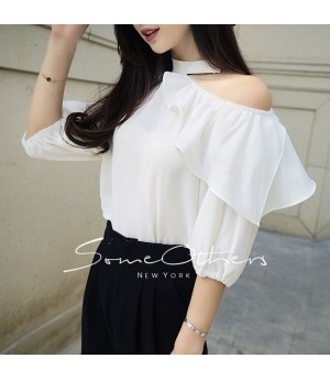 SomeOthers Shoulder Cut-Off Shirt-White