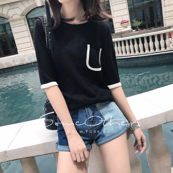 SomeOthers Short Sleeve Knit Tees-Black
