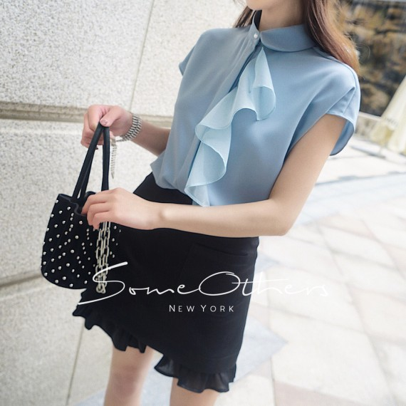 SomeOthers Mesh Ruffle Top-Blue