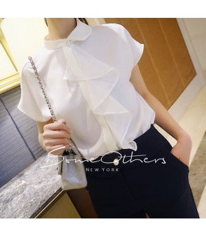 SomeOthers Mesh Ruffle Top-White