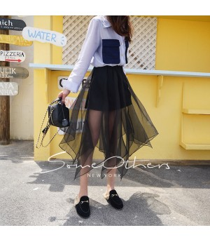 SomeOthers Asymmetric Long Skirt-Black