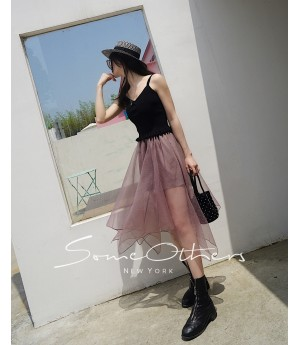 SomeOthers Asymmetric Long Skirt-Pink