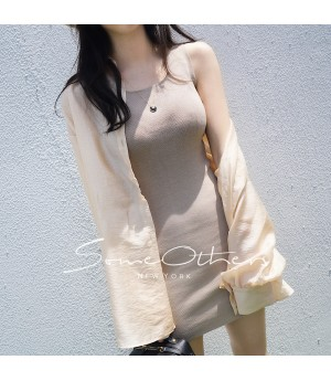 SomeOthers Knit Basic Dress-Khaki