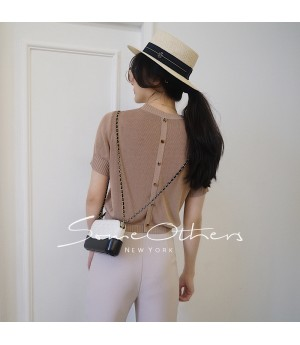 SomeOthers Buttoned Knit Tops-Light Camel