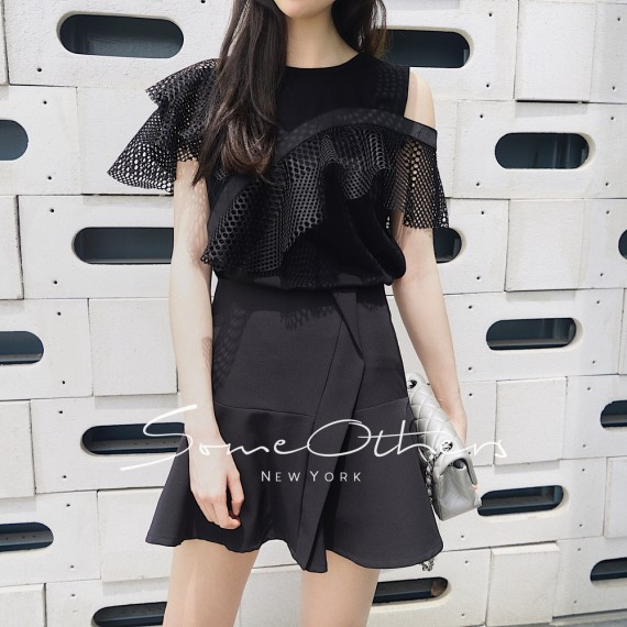 SomeOthers Lace Trimmed Tops-Black