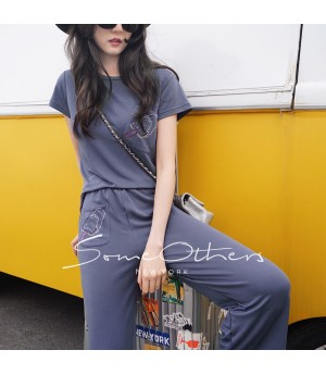SomeOthers Two-Piece Graphic Pants-Blue