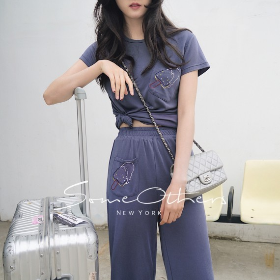 SomeOthers Two-Piece Graphic Shirt-Blue