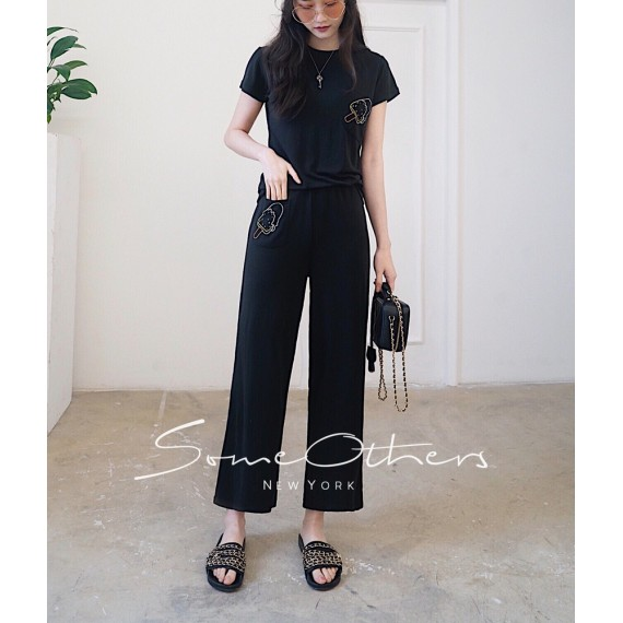 SomeOthers Two-Piece Graphic Pants-Black
