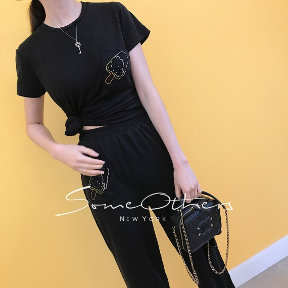 SomeOthers Two-Piece Graphic Shirt-Black