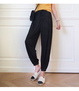 SomeOthers Silk Harem Pants-Black