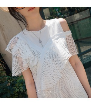 SomeOthers Tiered Lace Dress-White
