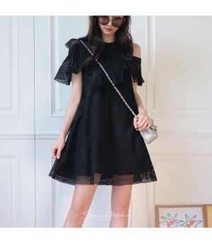 SomeOthers Tiered Lace Dress-Black