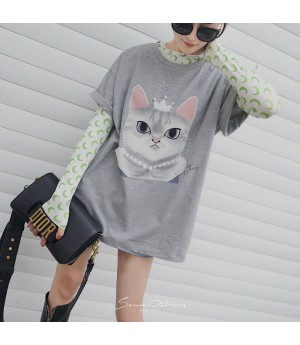 "SomeOthers ""Kitty Queen"" Tees-Grey"