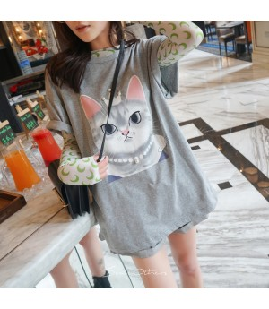 """SomeOthers """"Kitty Queen"""" Tees-Grey"""