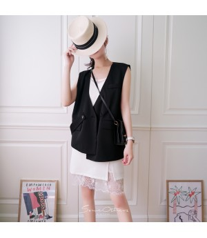 SomeOthers Button-Detailed Vest-Black