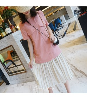 SomeOthers Two Tone Pleated Dress-Pink