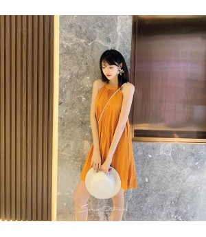 SomeOthers Pleated Dress-Orange