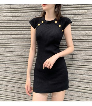SomeOthers Buttoned Knit Dress-Black