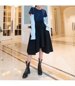 SomeOthers Asymmetrical Full Skirt-Black