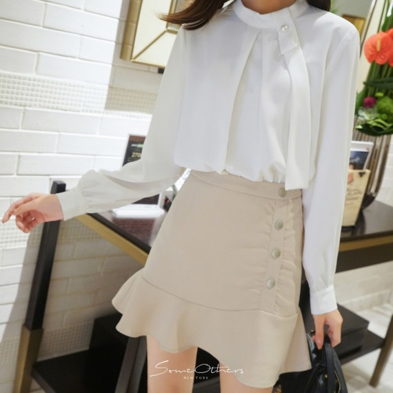 SomeOthers Trumpet Mini Skirt-Apricot