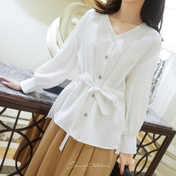 SomeOthers Puff Sleeve Shirt-White