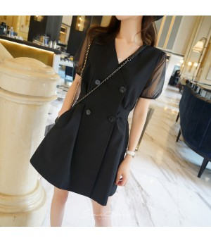 SomeOthers Puff Sleeve Dress-Black