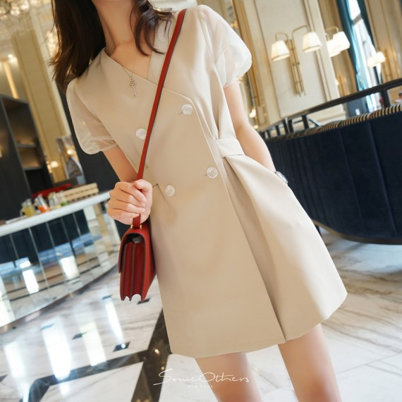 SomeOthers Puff Sleeve Dress-Apricot