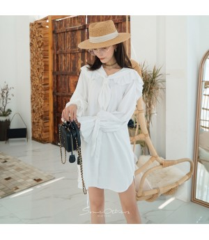 SomeOthers Retro Lantern Sleeve Dress-White