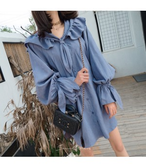 SomeOthers Retro Lantern Sleeve Dress-Blue