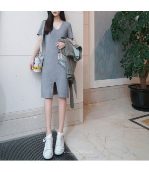 SomeOthers 19FW Short Sleeve Knit Dress-Gery