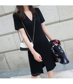 SomeOthers 19FW Short Sleeve Knit Dress-Black
