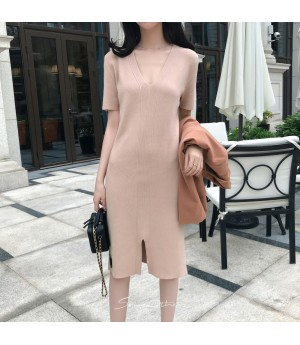 SomeOthers 19FW Short Sleeve Knit Dress-Cinnamon Pink