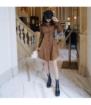 SomeOthers Corduroy Plaid Dress-Brown