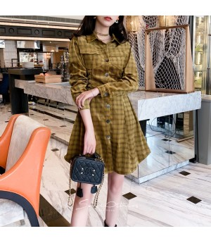 SomeOthers Corduroy Plaid Dress-Yellow