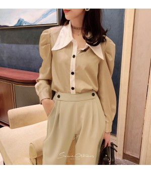 SomeOthers 19FW Hepburn Style Babble Sleeve Shirt-Apricot