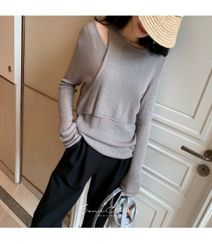 SomeOthers 19FW Double Layer Off-Shoulder Sweater-Grey