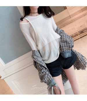 SomeOthers 19FW Double Layer Off-Shoulder Sweater-White