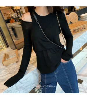 SomeOthers 19FW Double Layer Off-Shoulder Sweater-Black