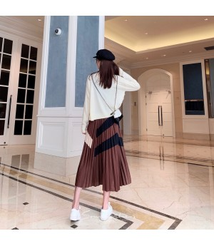 SomeOthers Muiltcolor Wrinkle Skirt-Camel